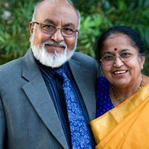 An image of Drs. Pallassana and Shyamala Balgopal. They are looking at the camera and smiling.