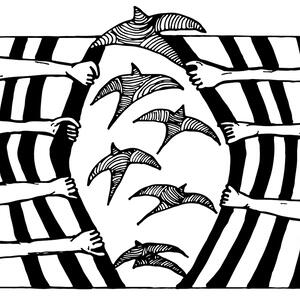 A black and white illustration. Hands reach out from both sides of the image, prying apart iron bars and setting a flock of birds free.